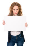 Business woman isolated portrait . Girl show big blank board Royalty Free Stock Photo