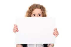 Business woman isolated portrait . Girl show big blank board Royalty Free Stock Images