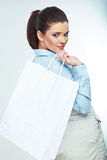 Business woman isolated portrait hold shopping bag Stock Photography