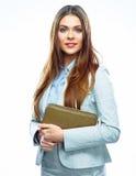 2 business woman Isolerad vit bakgrund Royaltyfria Bilder