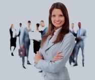 2 business woman Isolerat över vitbakgrund Arkivbilder