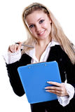 Business woman in a jacket with clipboard Royalty Free Stock Photo