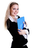 Business woman in a jacket with clipboard Stock Photos