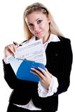 Business woman in a jacket with clipboard Royalty Free Stock Photography