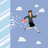 Business woman jump and broke glass window Stock Photo