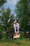 Business woman jump and dance outdoor Stock Images
