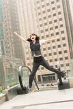 Business woman jump Stock Photo