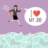 Business woman jump into a lot of documents with word I love my Royalty Free Stock Photography