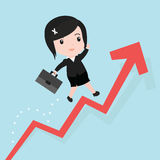 Business woman jump over growing chart, cartoon Royalty Free Stock Images