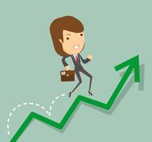 Business woman jump over growing chart Stock Images