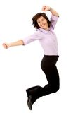 Business woman jumping Stock Photo