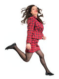 Business woman jumping. On white studio background Stock Photos