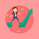 Business woman jumping over gap on arrow going up. Stock Photography