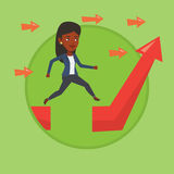 Business woman jumping over gap on arrow going up. Stock Images