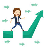 Business woman jumping over gap on arrow going up. Royalty Free Stock Photography