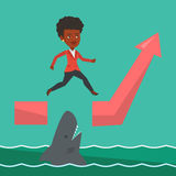 Business woman jumping over ocean with shark. Stock Image