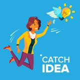 Business Woman Jumps And Tries To Catch Idea Vector, Yellow Light Bulb Flying On Wings. Illustration stock illustration