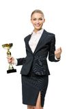 Business woman keeping cup Stock Images