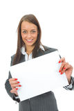 Business Woman Keeps Sheet Royalty Free Stock Image