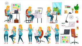 Business Woman Lady Character Vector. Working Female In Action. IT Startup Business Company. Effective Salesperson. Desk. Business Woman Character Set Vector stock illustration