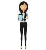 Business woman lady showing something important on the tablet ve Stock Images