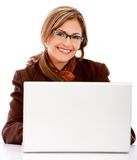Business woman with a laptop Royalty Free Stock Image