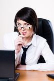 Business woman with laptop Stock Images