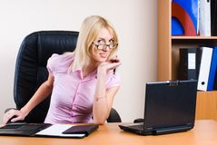 Business woman with laptop Royalty Free Stock Photo