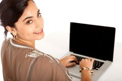 Business woman with a laptop Royalty Free Stock Photos