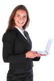 The business woman with the laptop. The happy young business woman with laptop in hands Royalty Free Stock Photos