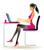 Business woman with laptop. In office - vector illustration Royalty Free Stock Photography