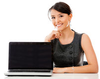 Business woman with a laptop Stock Photos
