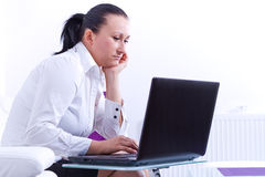 Business woman with laptop Stock Photography