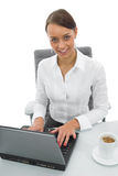 Business woman and laptop Stock Images