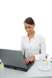 Business woman and laptop Stock Photography