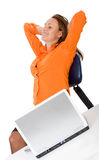 Business woman on a laptop Stock Photography
