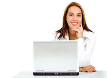 Business woman on a laptop Royalty Free Stock Photos