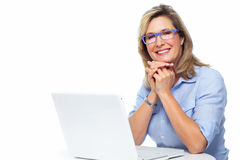 Business woman with laptop. Stock Photos