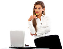 Business woman - laptop Royalty Free Stock Image