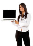 Business woman on a laptop Stock Image