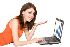 Business woman with laptop. Young business woman with laptop isolated on white Stock Photography