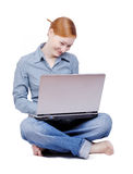 Business woman with the laptop Stock Photo