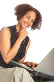 Business woman on a laptop stock photos