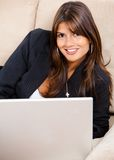 Business woman on a laptop Stock Images