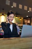 Business woman laptop cafe cellphone Royalty Free Stock Photo