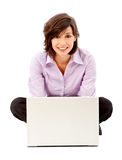 Business woman on a laptop computer Stock Photography