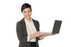 Business Woman with Laptop Computer Stock Image