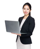 Business woman with laptop computer Stock Photography
