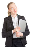 Business Woman With Laptop Dreaming Royalty Free Stock Image
