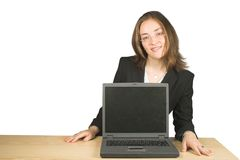 Business woman with laptop in front of her Stock Photography